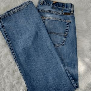 Lucky button fly jeans straight leg light wash 33
